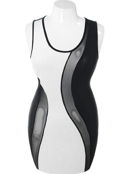 Plus Size See Through Swirl Bodycon White Dress