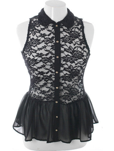 Plus Size See Through Lace Peplum Black Button Up