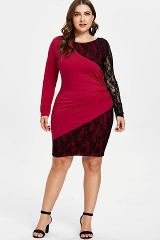 Plus Size Colorblock See Through Lace Long Sleeve Dress