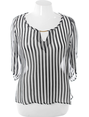 Plus Size Loose Stripe Sheer Black Top