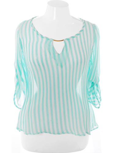 Plus Size Loose Stripe Sheer Mint Top