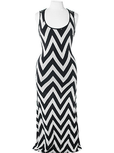 Plus Size Sexy Back Zig Zag Maxi Dress