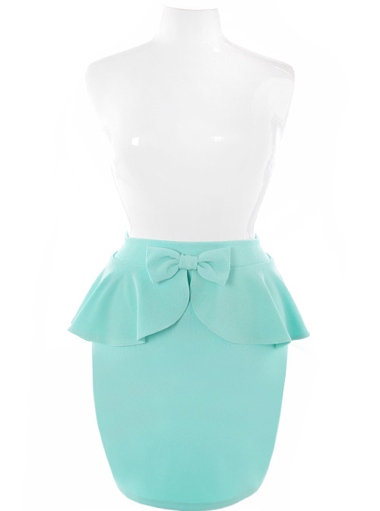 Plus Size Adorable Bow Peplum Mint Skirt