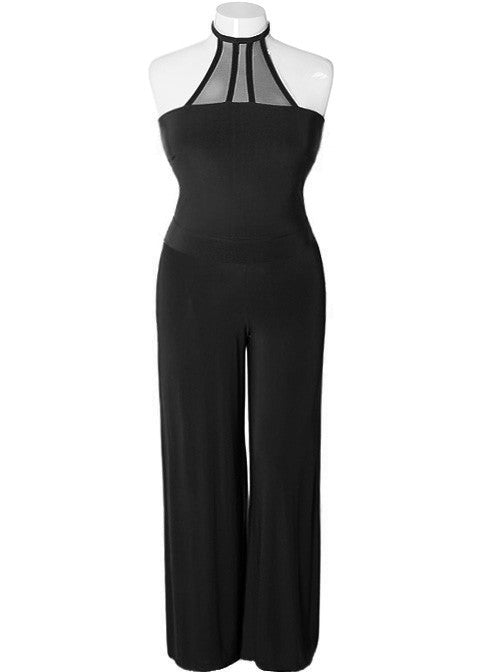 Plus Size Seductive Halter Black Jumpsuit