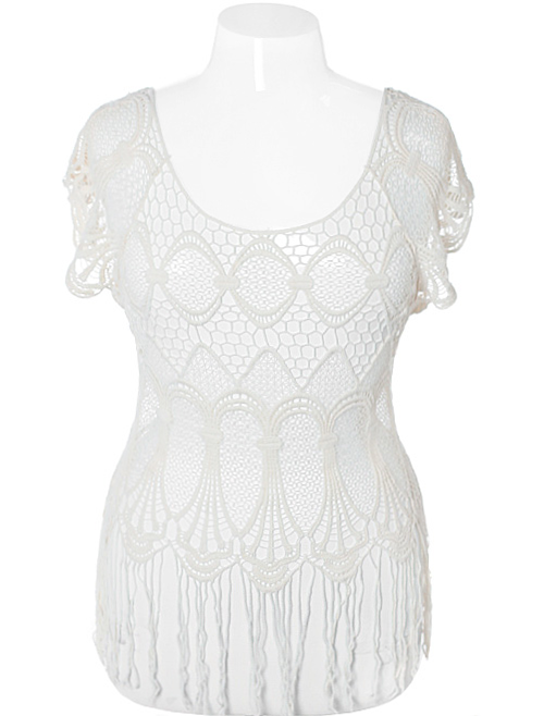 Plus Size See Through Lace White Tunic