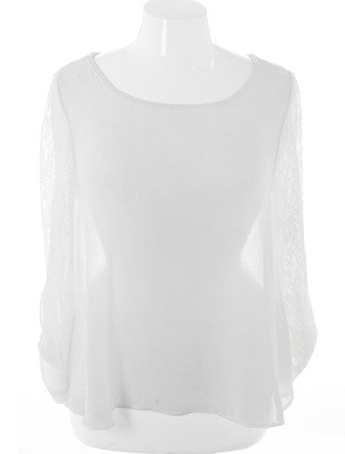 Plus Size See Through Long Sleeve White Top