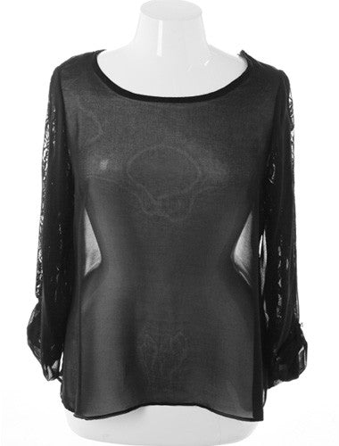 Plus Size See Through Long Sleeve Black Top