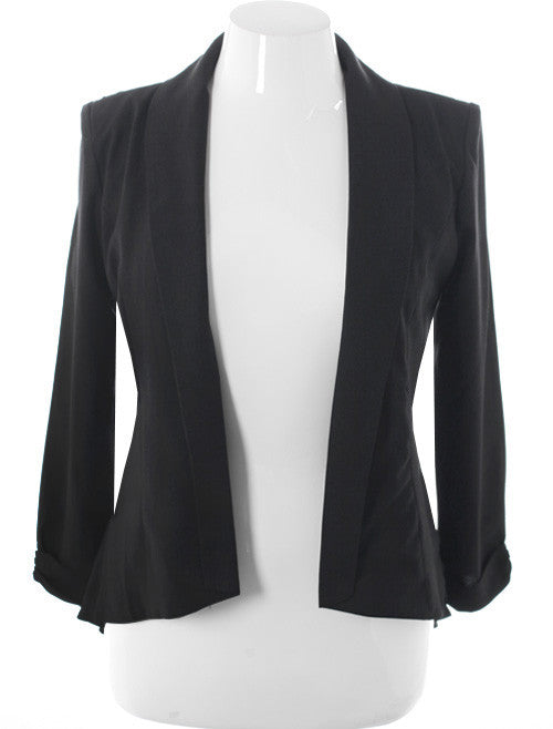 Plus Size See Through Back Open Front Blazer