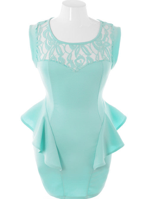 Plus Size Ravishing Trendy Peplum Hip Mint Dress