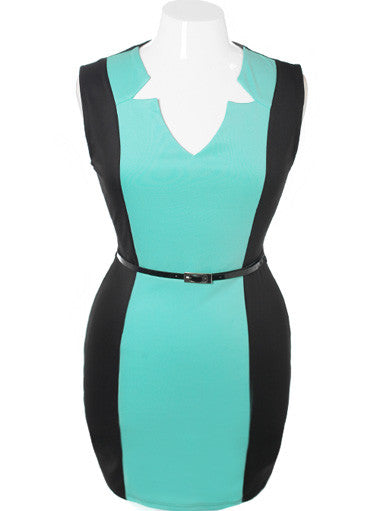Plus Size Bodycon Sleeveless Belted Teal Dress