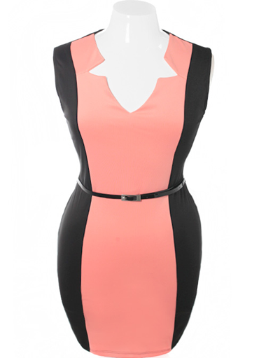 Plus Size Bodycon Sleeveless Belted Pink Dress