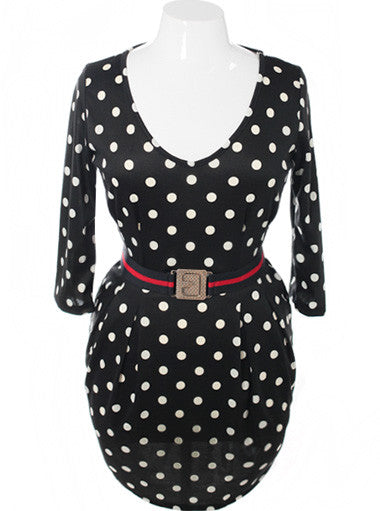Plus Size Polka Dot Belted Pleated Black Dress
