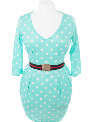 Plus Size Polka Dot Belted Pleated Mint Dress