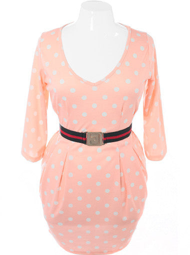 Plus Size Polka Dot Belted Pleated Peach Dress