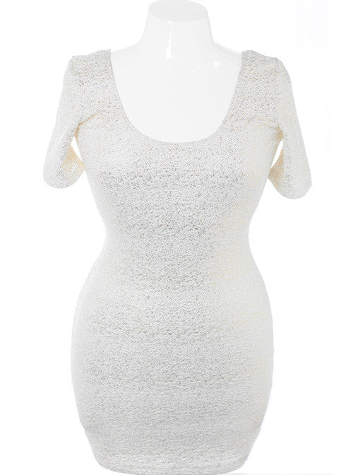 Plus Size Bodycon Sparkling White Dress