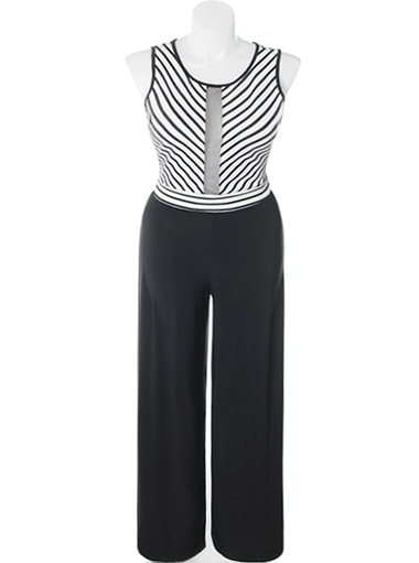 Plus Size Euro Stripe Black Jumpsuit