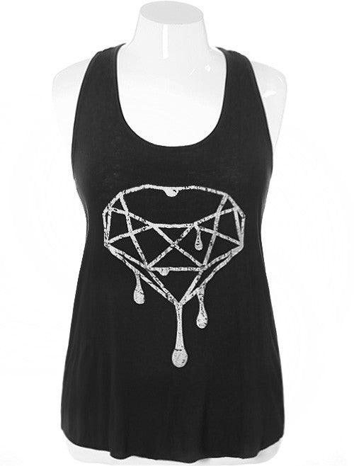 Plus Size Trendy Diamond White Tank