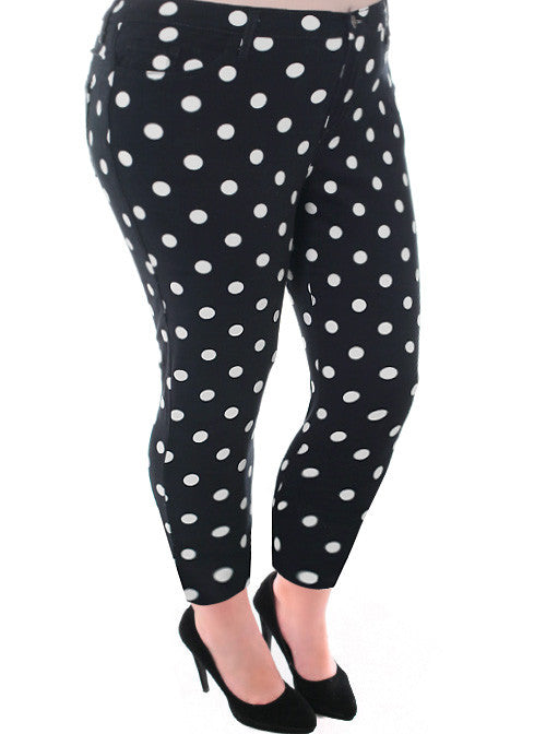 Plus Size Adorable Polka Dot Denim Jeans