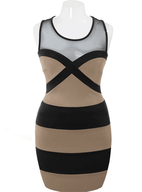 Plus Size Fabulous Bodycon Sweetheart Taupe Dress
