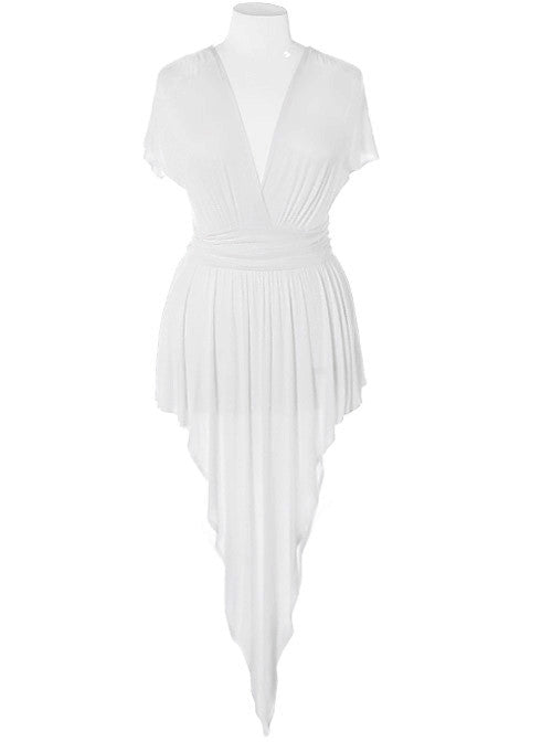 Plus Size Gathered Open Back Off White Dress