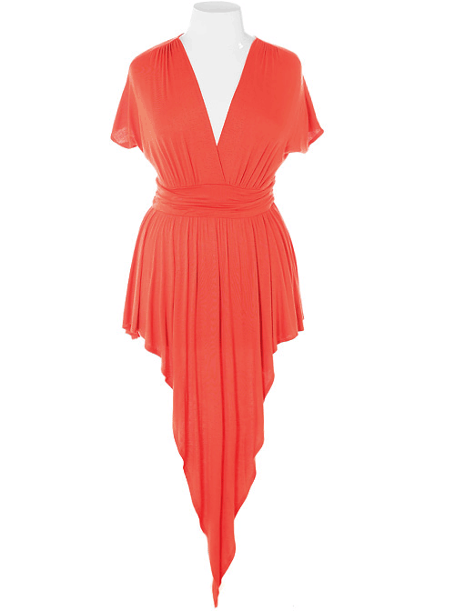 Plus Size Gathered Open Back Orange Dress