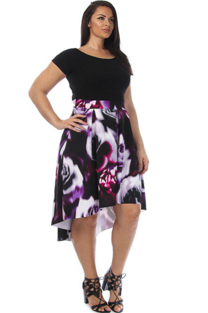 Short Sleeve Floral Pleaded Plus Size Dress