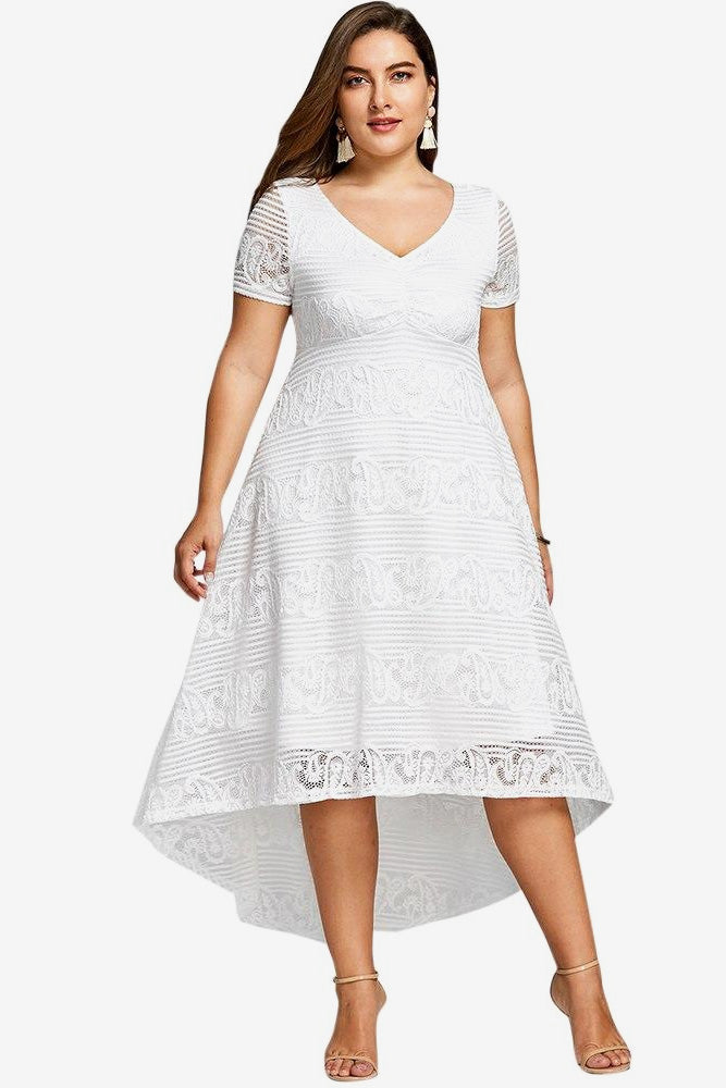 Plus Size Elegant Detailed Lace V Neck Flare Dress