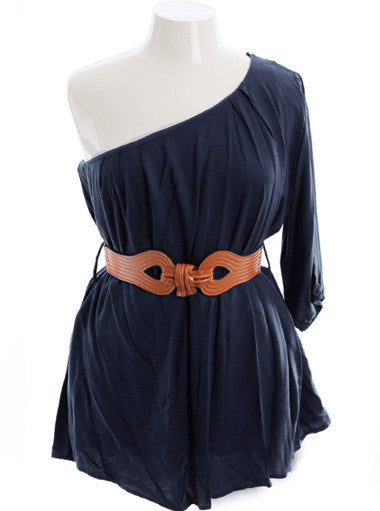 Plus Size Adorable One Shoulder Pleated Navy Blue Top