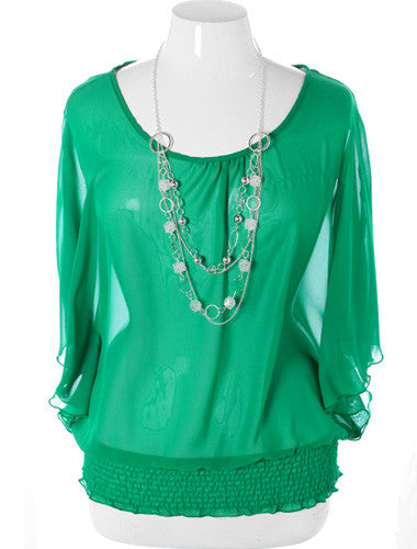 Plus Size Elegant Flowing Lace Green Blouse