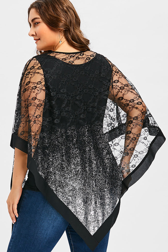 Plus Size See Through Lace Asymmetrical Overlay Blouse Top