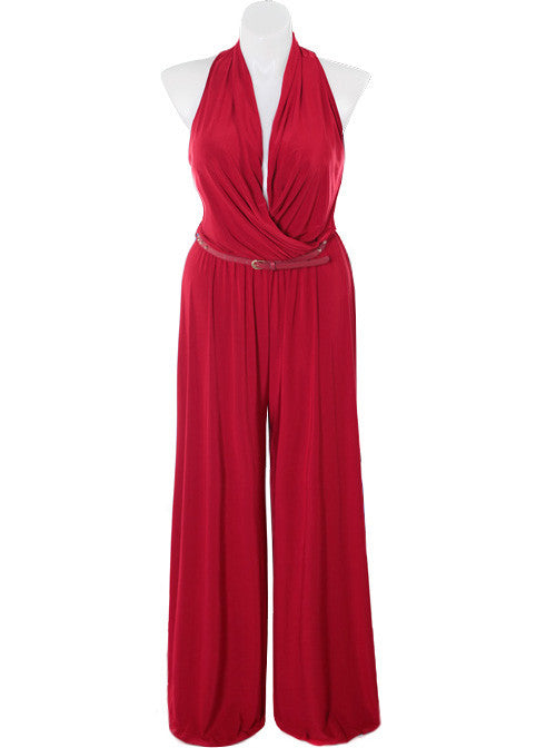 Plus Size Designer Drape Neck Red Jumpsuit