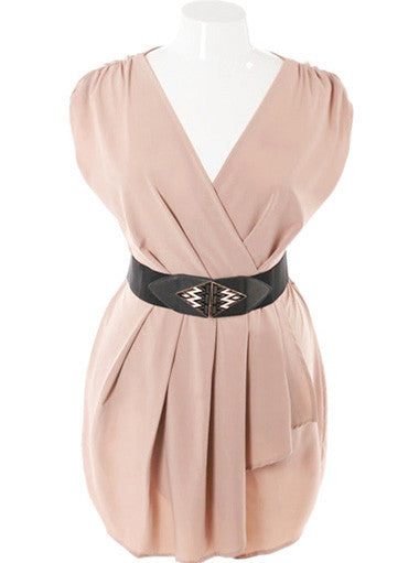 Plus Size Sleeveless Belted Wrap Taupe Dress