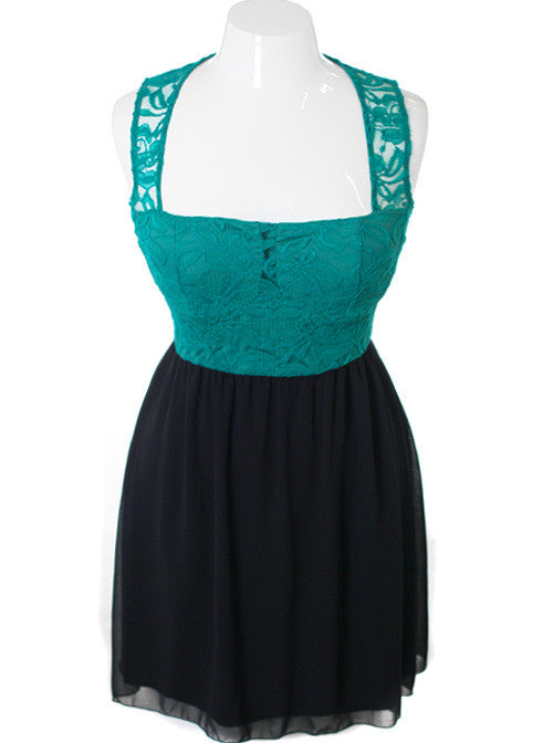 Plus Size See Through Lace Cocktail Teal Dress