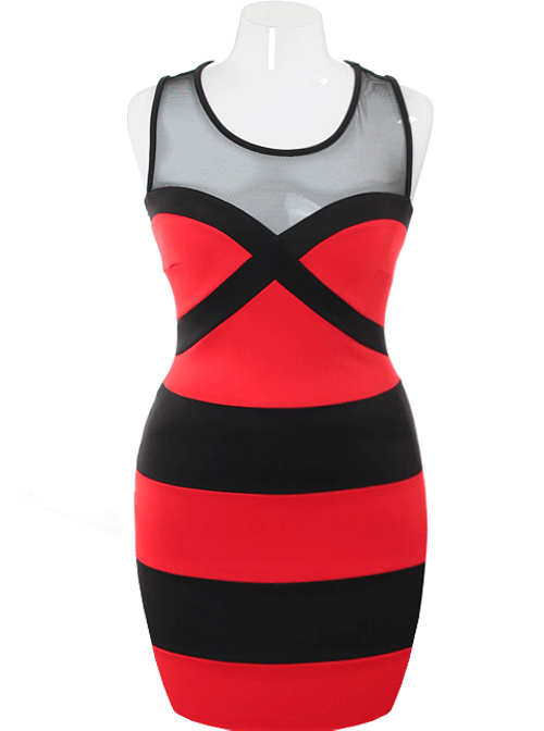 Plus Size Fabulous Bodycon Sweetheart Red Dress