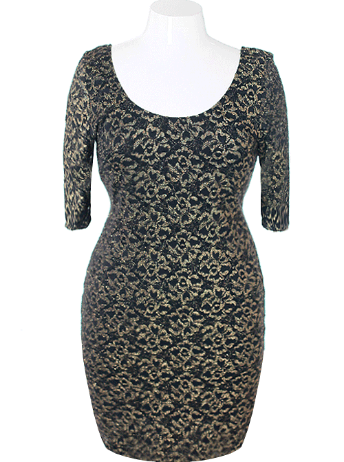 Plus Size Sparkling Bodycon Floral Gold Dress