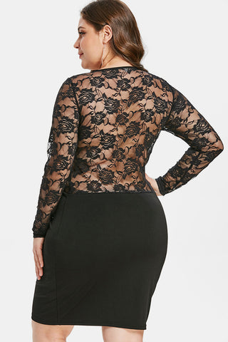 Plus Size See Through Back Long Sleeve Bodycon Dress