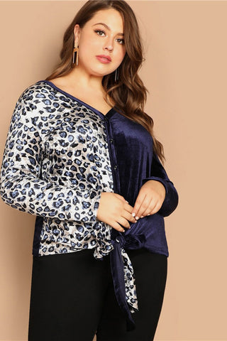 Plus Size Sleek Lively Two Tone Leopard Print Panel Top