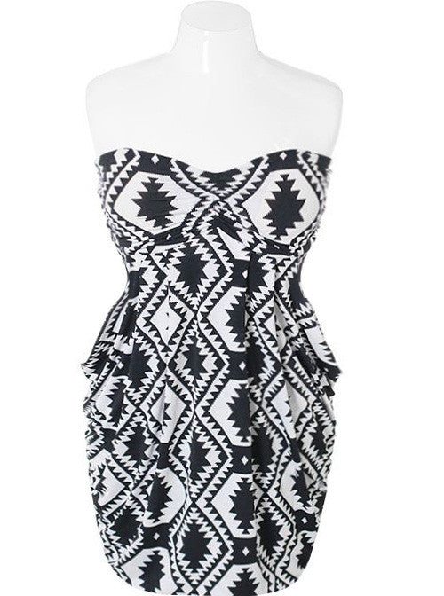 Plus Size Tribal Print Bubble White Dress