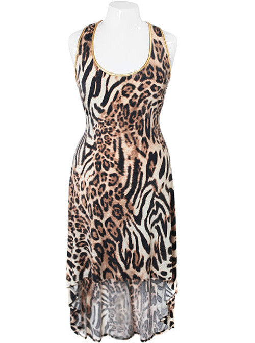 Plus Size Dip Hem Leopard Gold Trim Dress