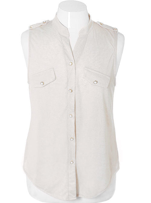 Plus Size Sleeveless White Button Top