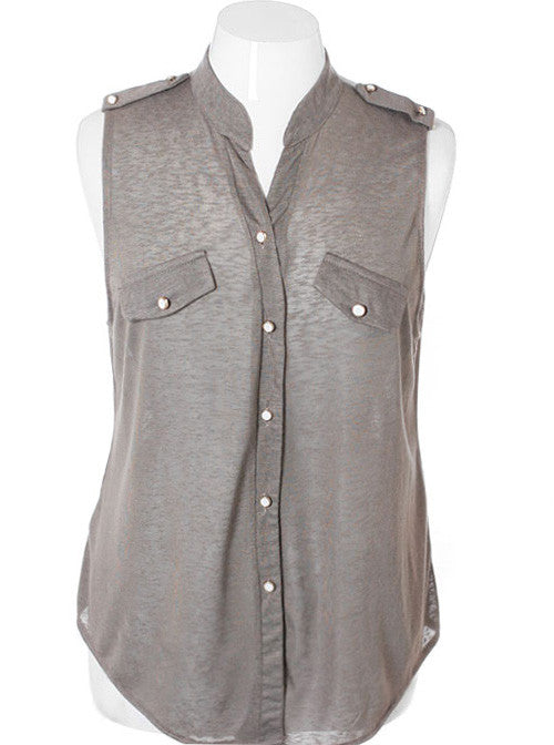 Plus Size Sleeveless Taupe Button Top