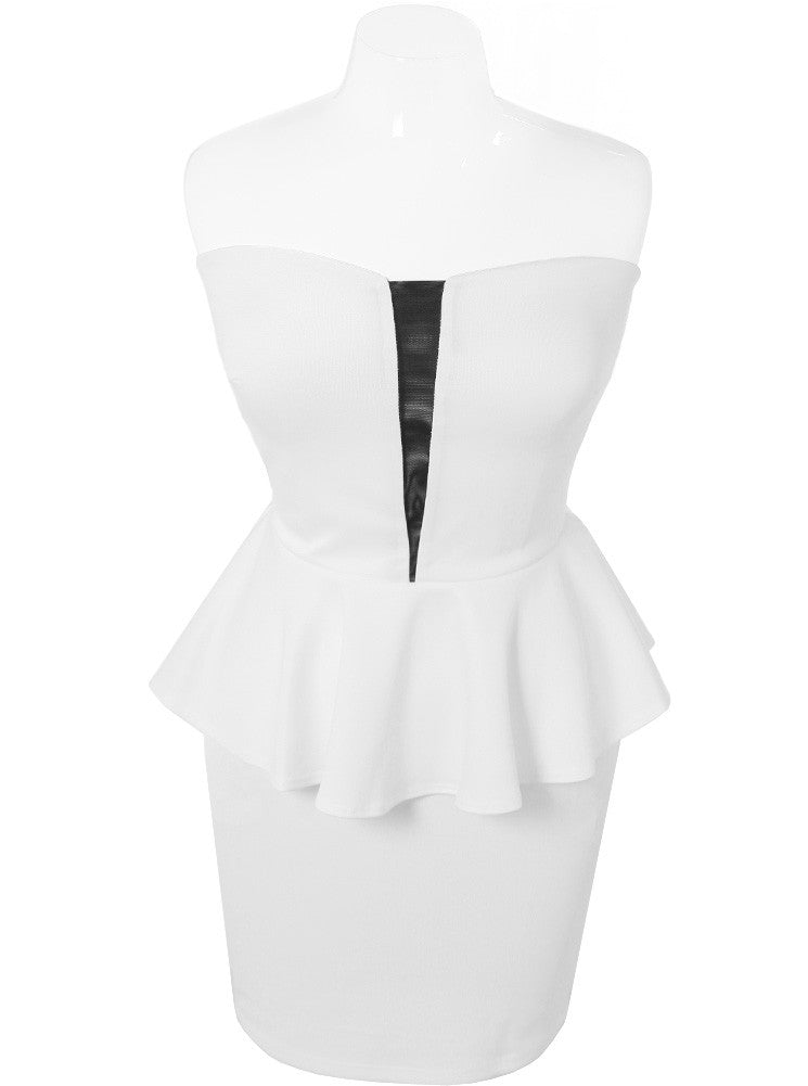 Plus Size Peplum White Tube Dress