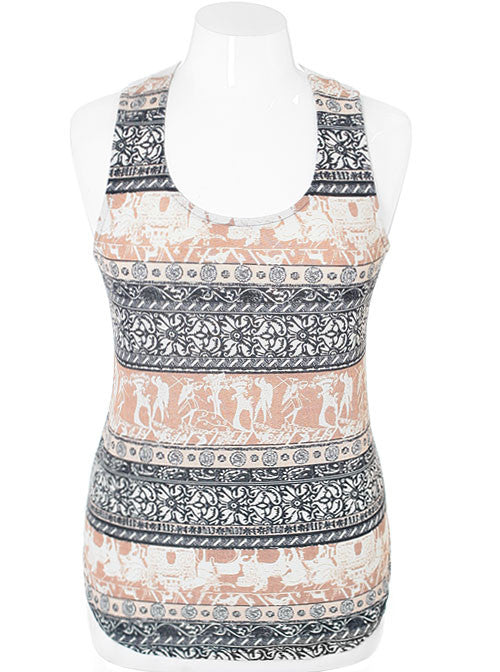 Plus Size Stylish Roman Taupe Tank