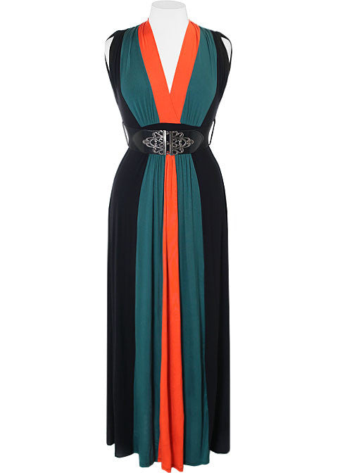 Plus Size Fabulous Belted Aqua Maxi Dress
