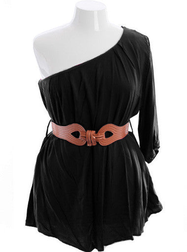 Plus Size Adorable One Shoulder Pleated Black Top
