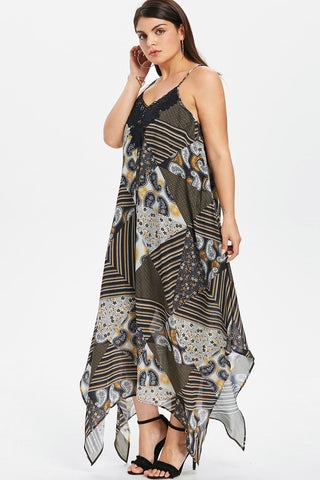 Plus Size Bohemian Design Spaghetti Strap Flowy Dress