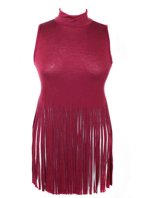 Plus Size Turtle Neck Fringe Rose Top