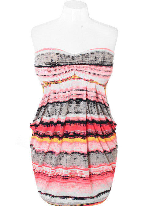 Plus Size Sexy Stripe Pink Bubble Dress