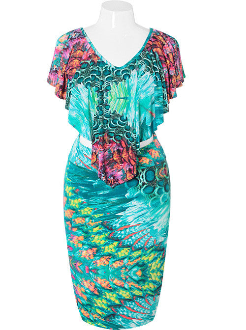 Plus Size Fancy Floral Teal Two Piece Set