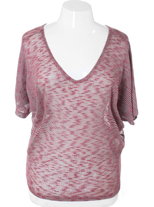 Plus Size Soft Loose Stripe Taupe Top